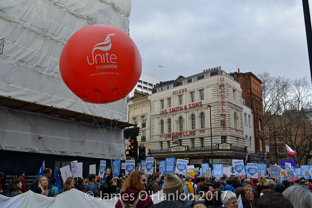 Unite balloon at a protesty